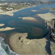 Óbidos Lagoon and Ocean Aerial View